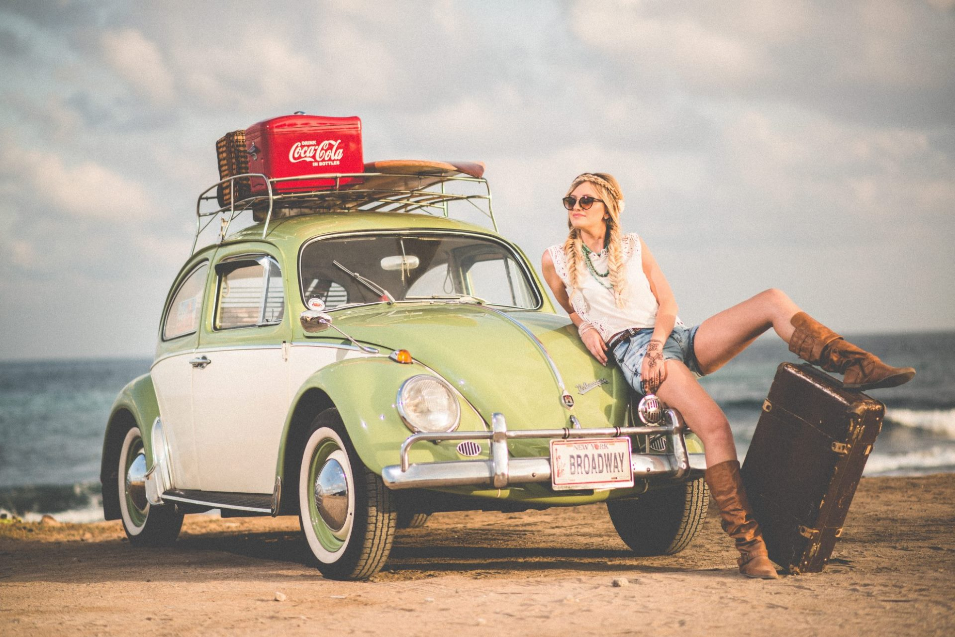 Woman in VW Bug in New York